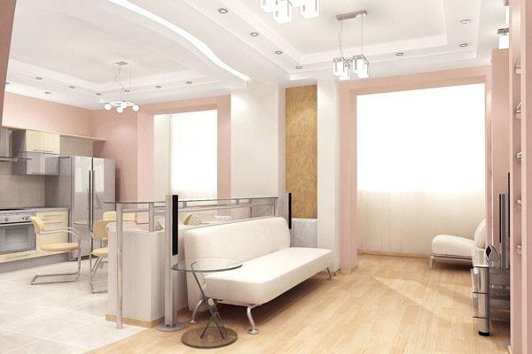 Использование различных напольных покрытий позволит визуально отделить кухню от гостиной.