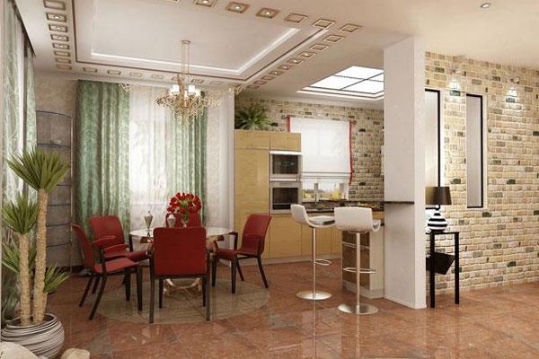 Зонирование кухонной зоны от гостиной при помощи гипсокартонной перегородки