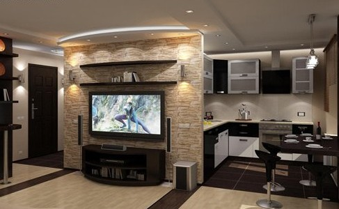 Единый стиль совмещенных кухни и гостиной, создает гармонию и согласованность в интерьере.
