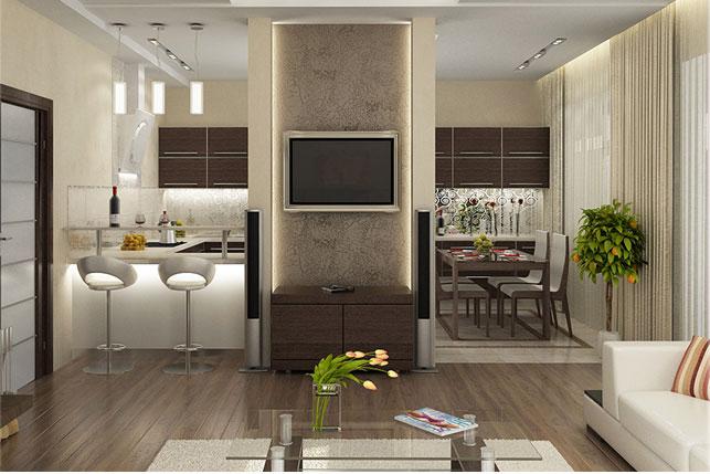 Единый стиль совмещенных кухни и гостиной