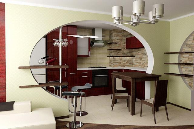 Интерьер кухни в зале