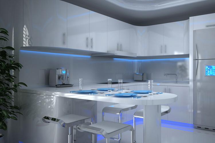 Правильно подобранная цветная подсветка на кухне позволит расширить интерьер кухни.