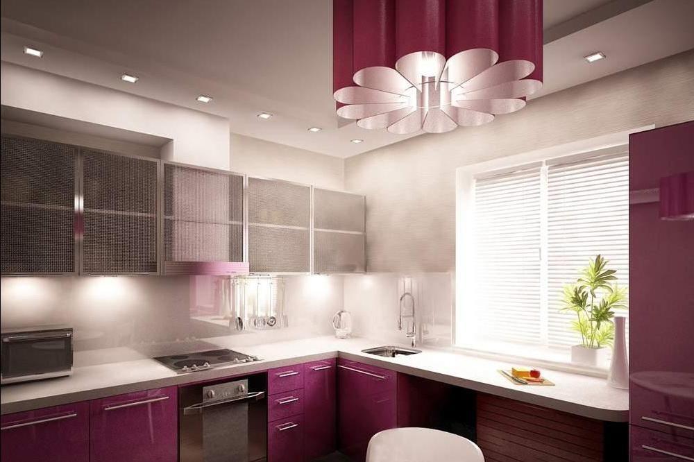 Комбинированное освещение позволяет осветить всю кухню равномерно.