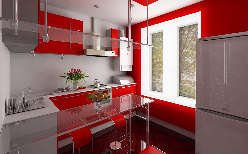 Дизайн кухни маленькая красная