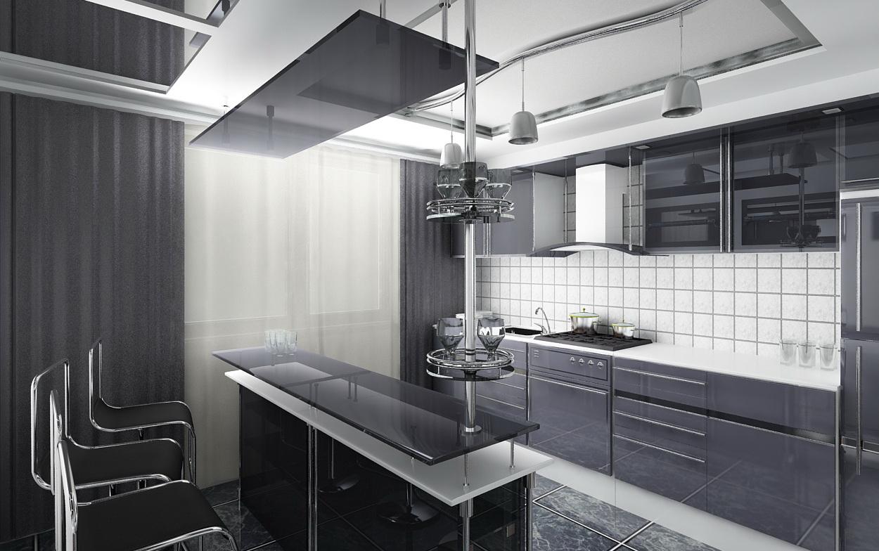 Кухня в стиле Hi-Tech - всегда смотрится очень современно