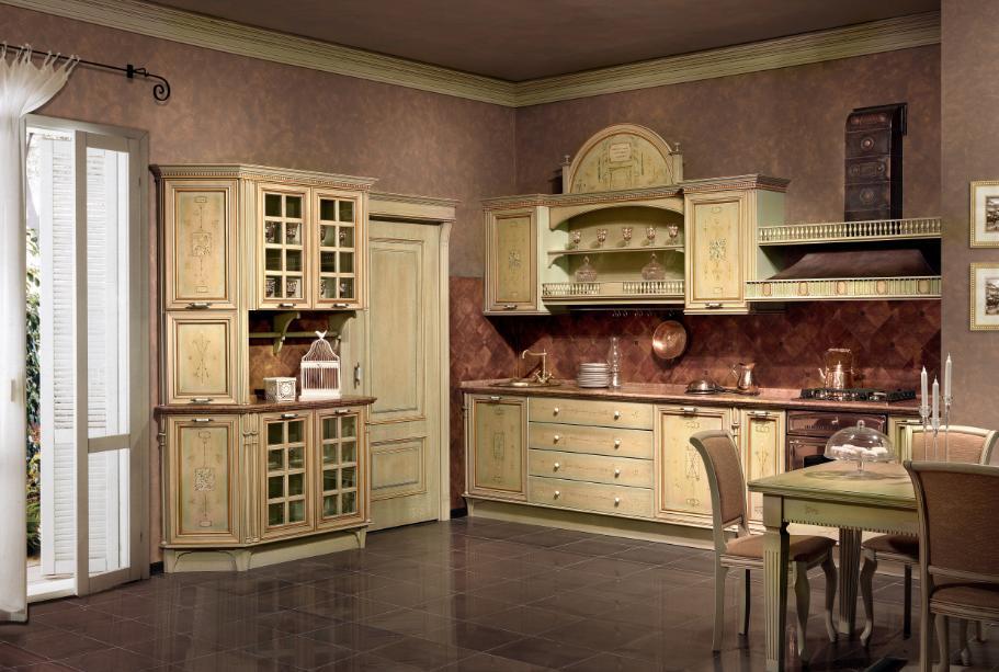 Стилизованная под старину мебель придаст вашей кухне особый шарм.