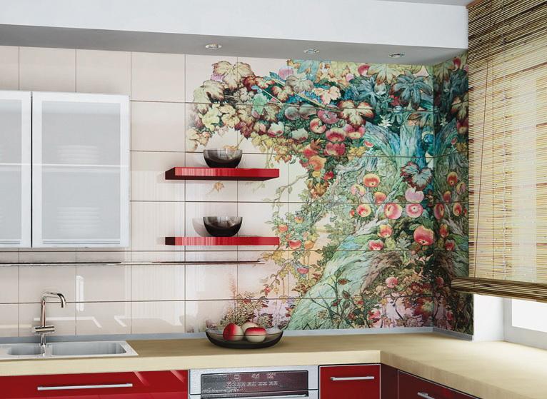 Панно с изображением цветов придаст вашей кухне особенную красоту.