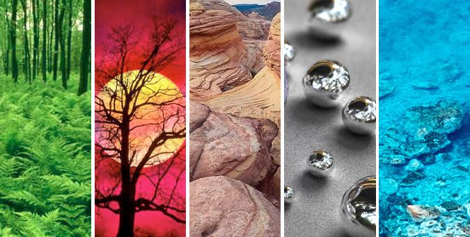 Пять элементов фен-шуй: дерево, огонь, земля, металл, вода.