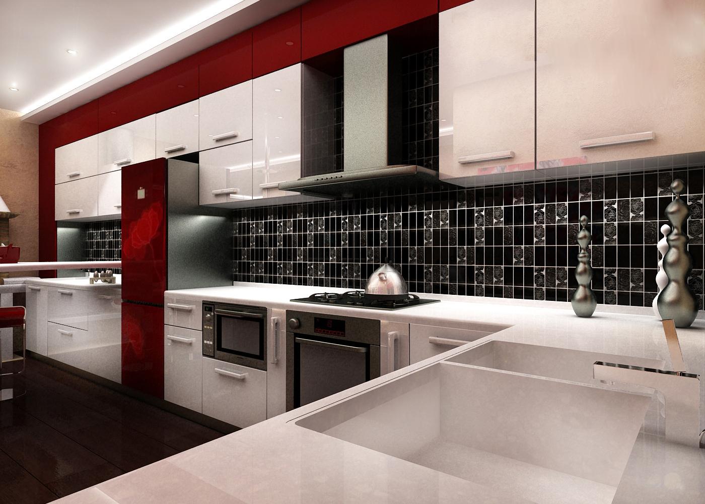 Правильно подобранная плитка-мозаика на кухонном фартуке
