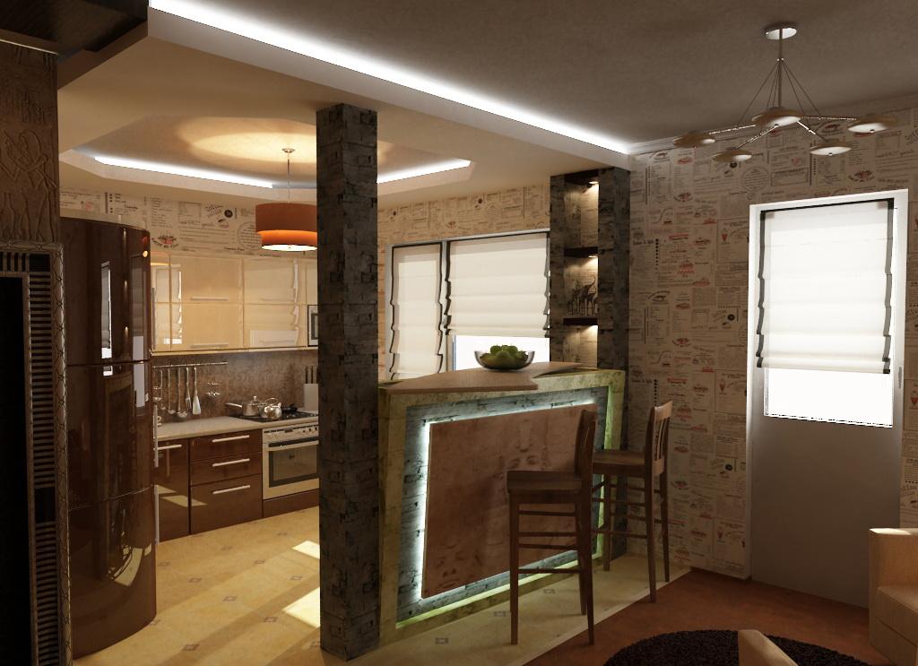 Дизайн кухни в хрущевке-студии фото