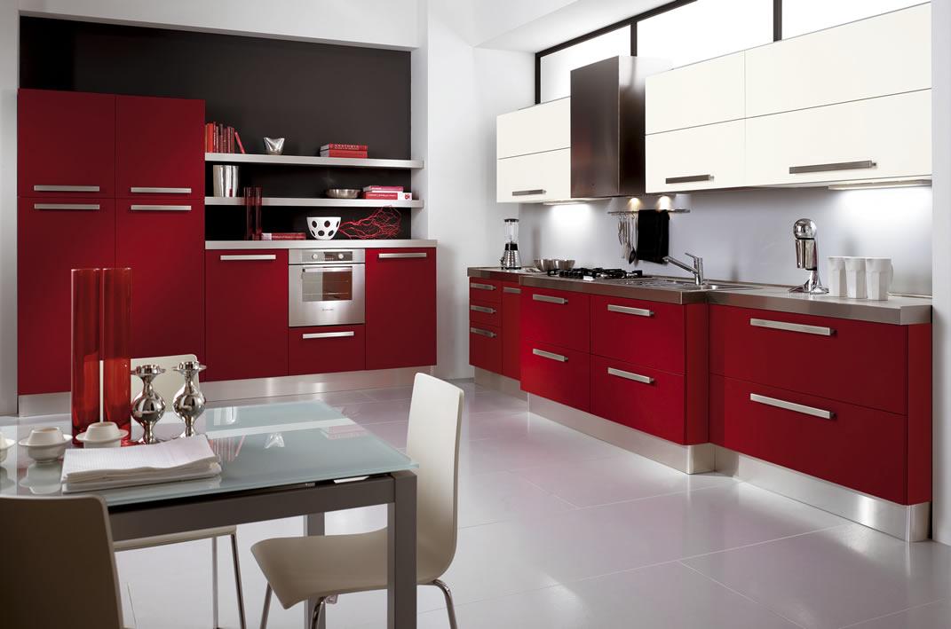 Кухня в стиле модерн в красно белом цвете