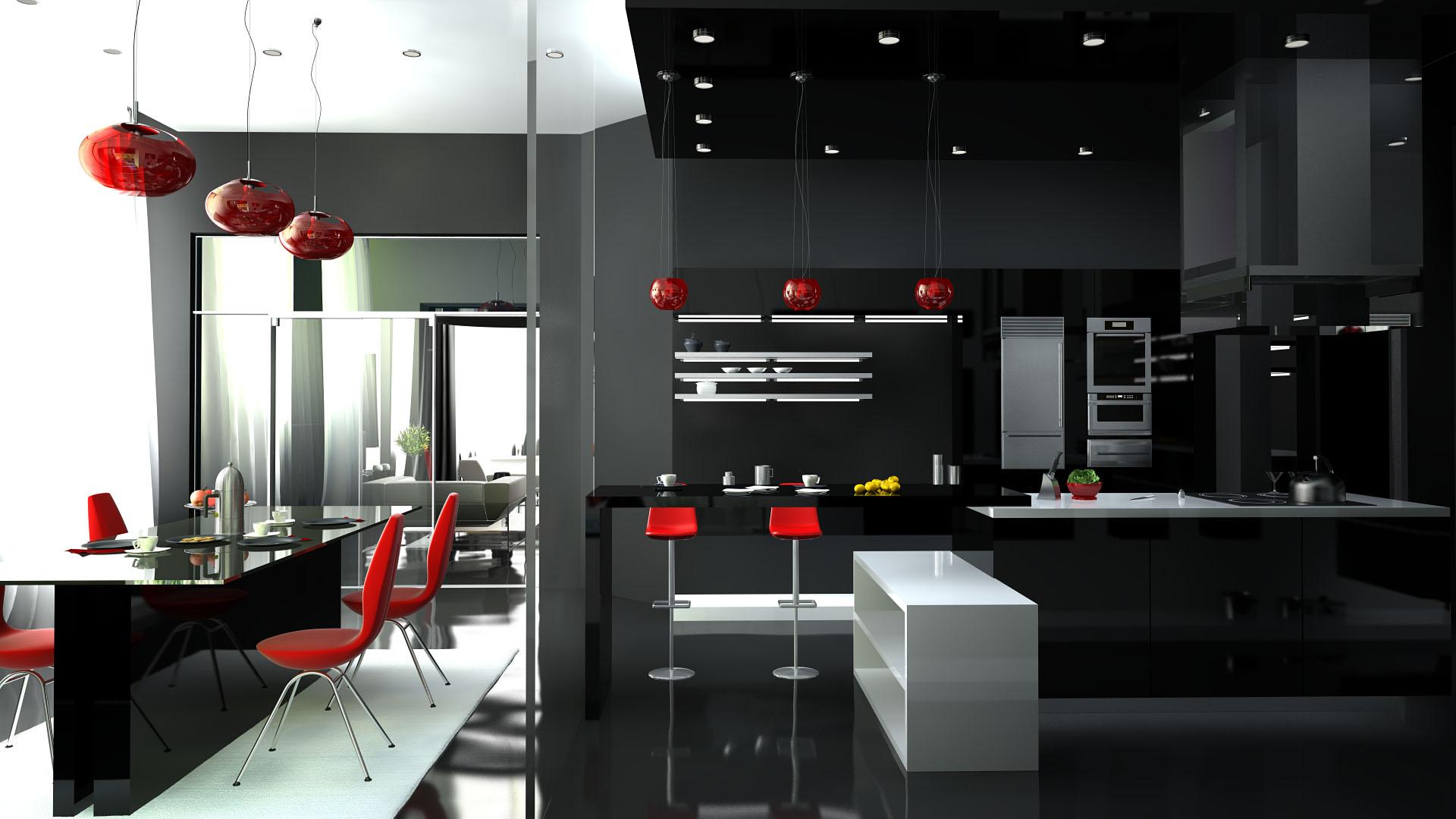 Кухня хай-тек выполненная в темных тонах