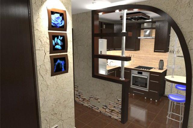Для отделения зоны кухни можно оставить небольшую перегородку