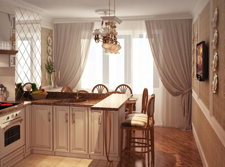 Шторы на кухне должны быть светлыми и пропускать много света на кухню.