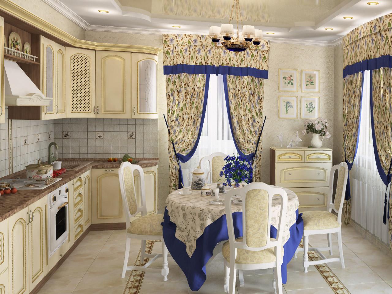 Стиль прованс подразумевает использование на кухне элементов декора из текстиля.