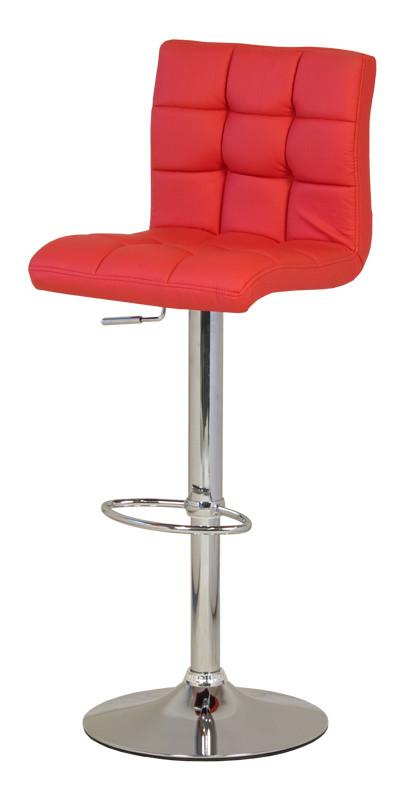 Барный стул с металлической основой и кожаным сидением.