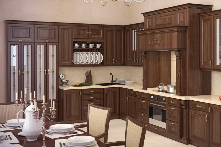 Кухня с фасадами из дерева сморится эффектно