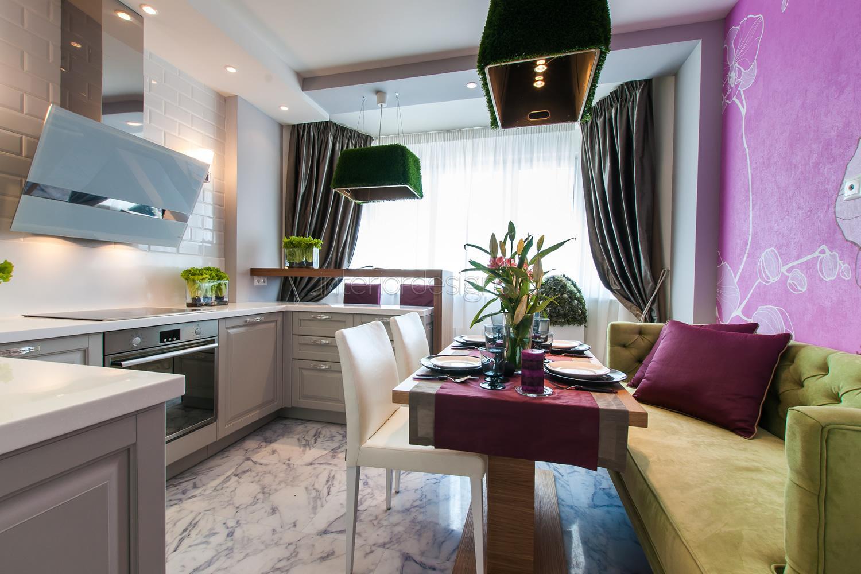 Дизайн кухни 15 кв м с диваном и балконом