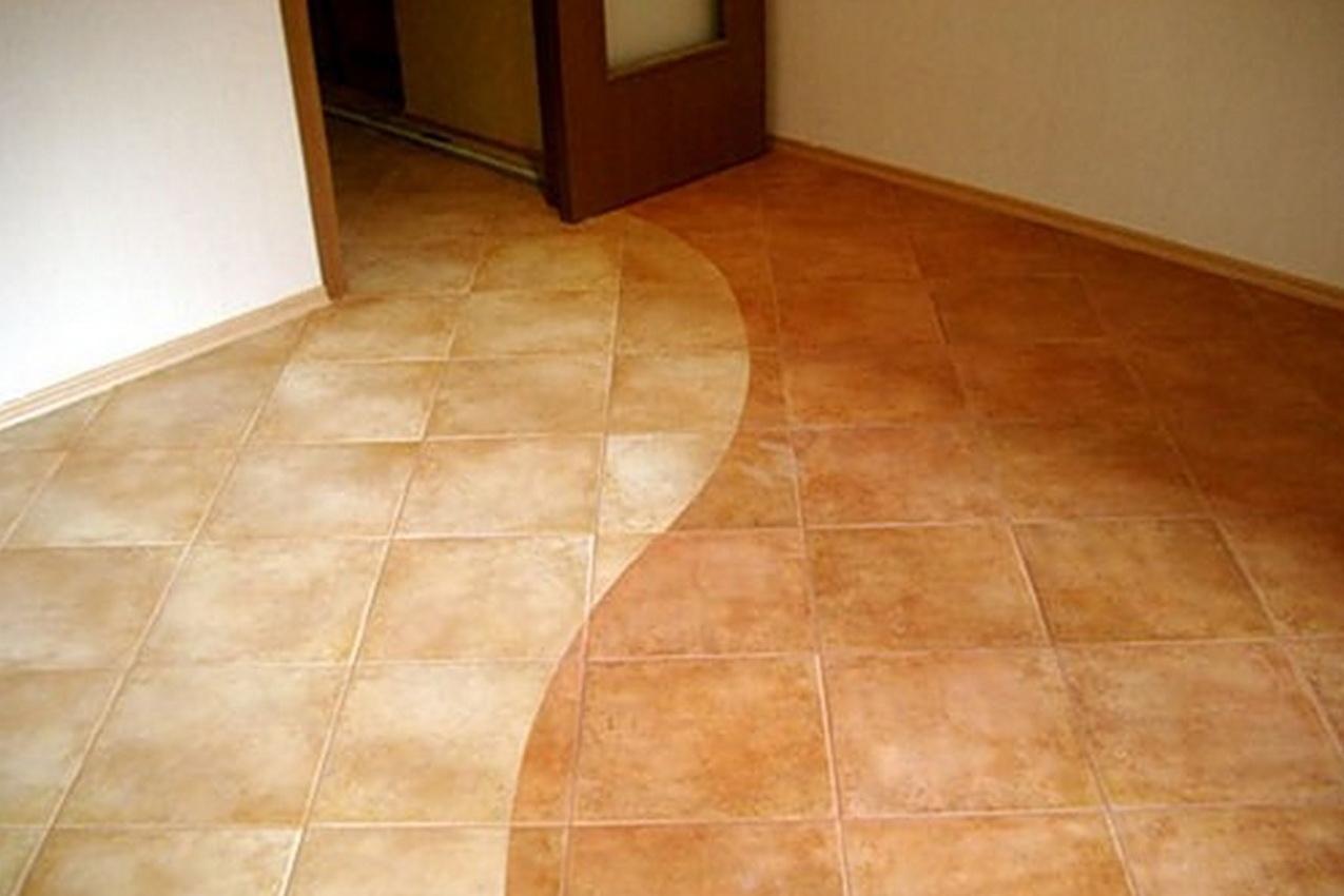 Плитка на полу кухни может быть подобрана в соответствии с будущим дизайном.