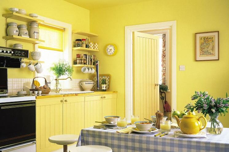 Стены на кухне можно окрасить в любые цвета.