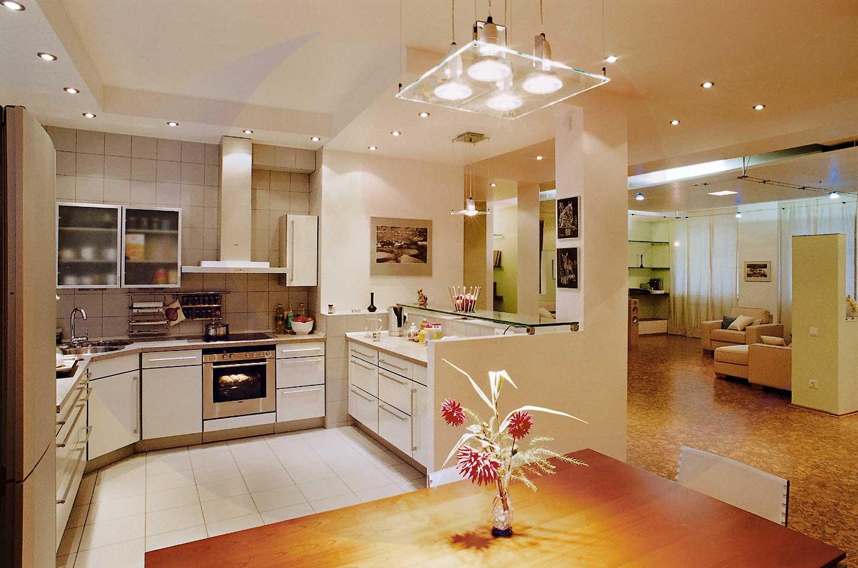 Люстра на кухне в стиле модерн