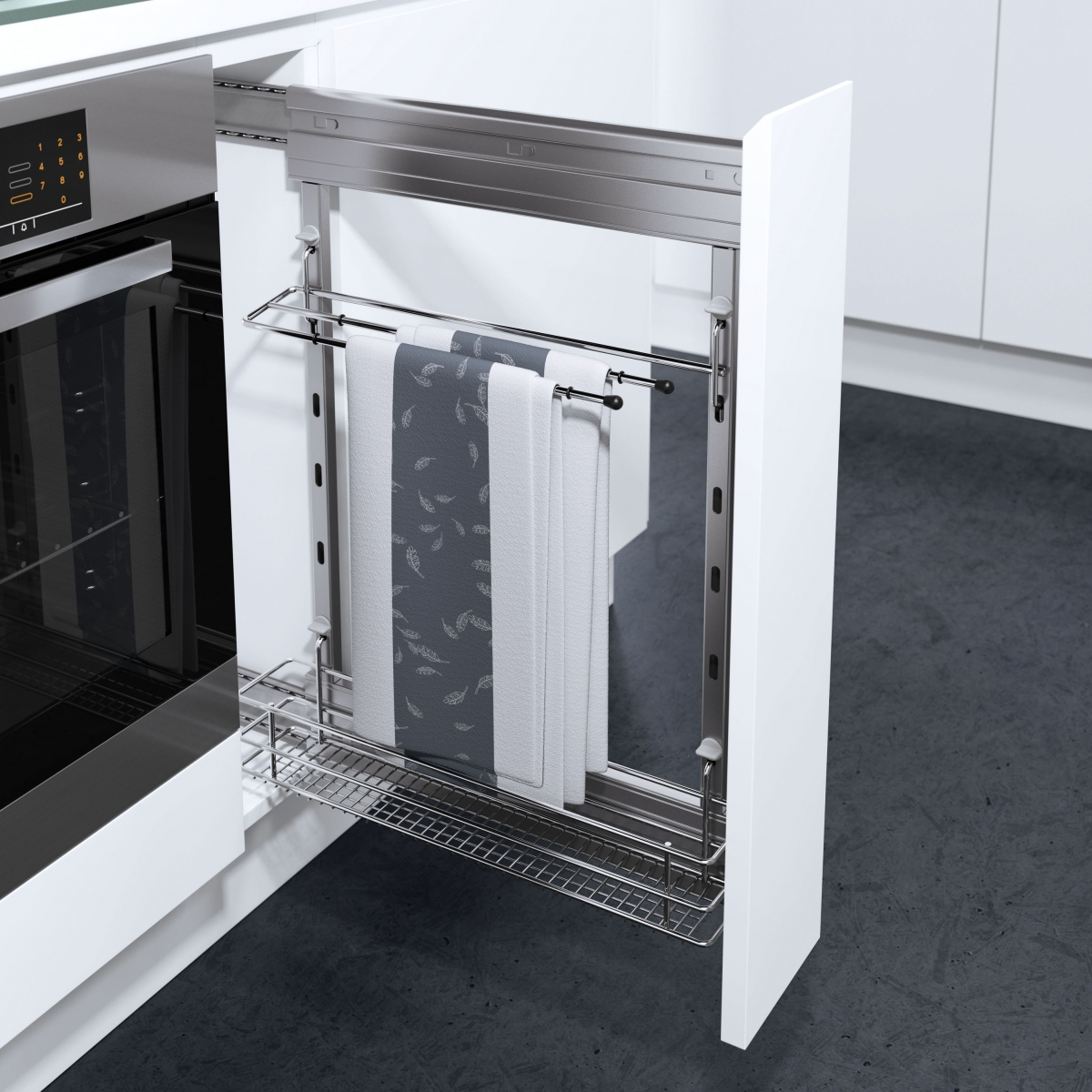Шкаф карго может быть снабжен прутом для полотенец