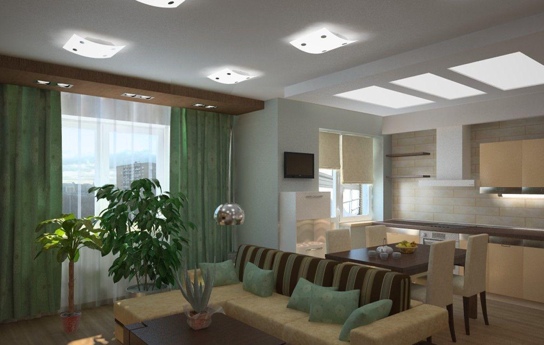 Объединенные помещения выполняются в одной стилистике