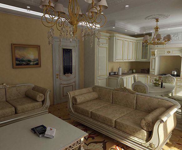 Дизайн кухня-гостиная в классическом стиле фото