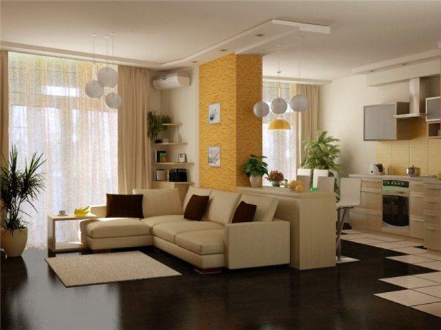 Упорядочить пространство кухни и гостиной помогут частичные перегородки и предметы кухонной мебели.