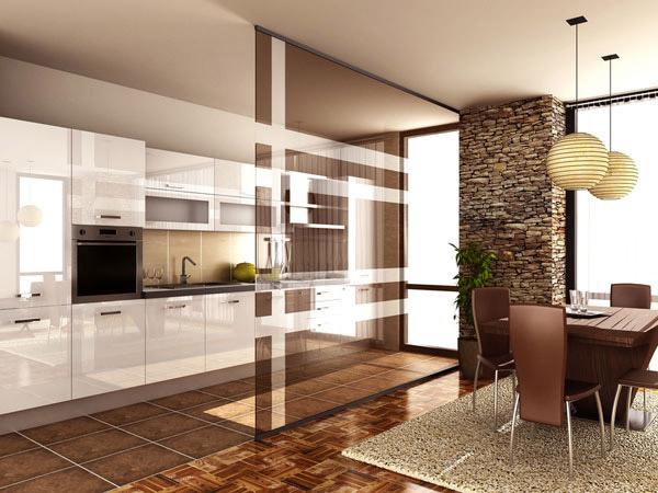 Разграничение зоны гостиной и кухни с помощью стеклянной перегородки