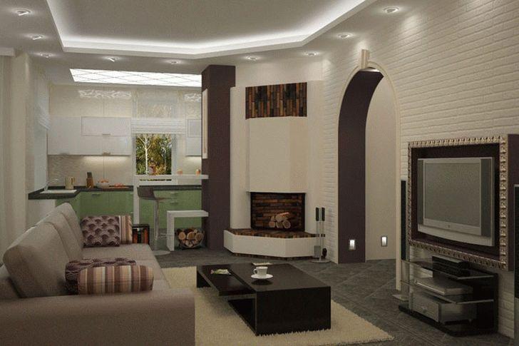 Зонирование кухни, совмещенной с гостиной при помощи освещения