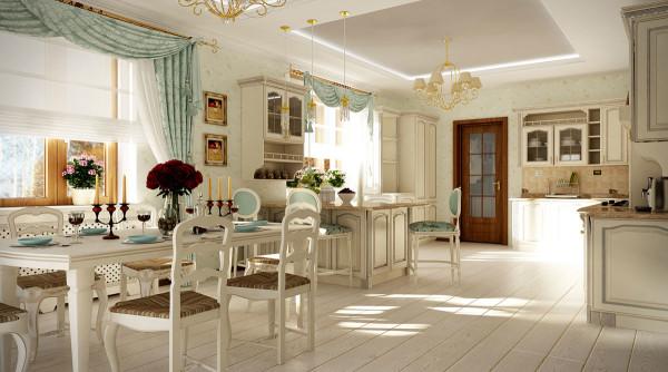 Кухня, совмещенная с гостиной в стиле прованс