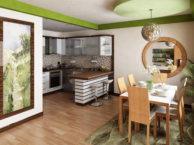 Кухня совмещенная со столовой очень популярное решение