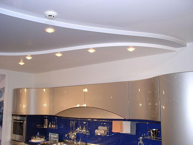 Современный потолок из гибсокартона