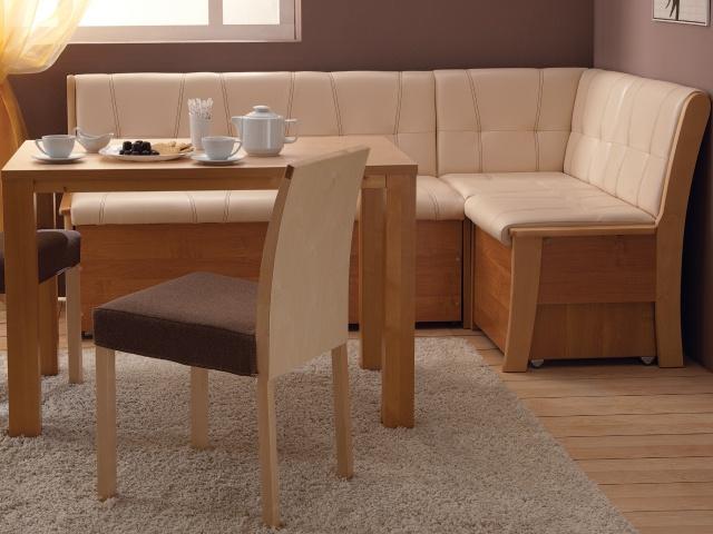 Угловой диван на кухню с каркасом из дерева