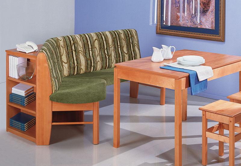 Угловой диван на кухню с полочками и аккуратным сиденьем