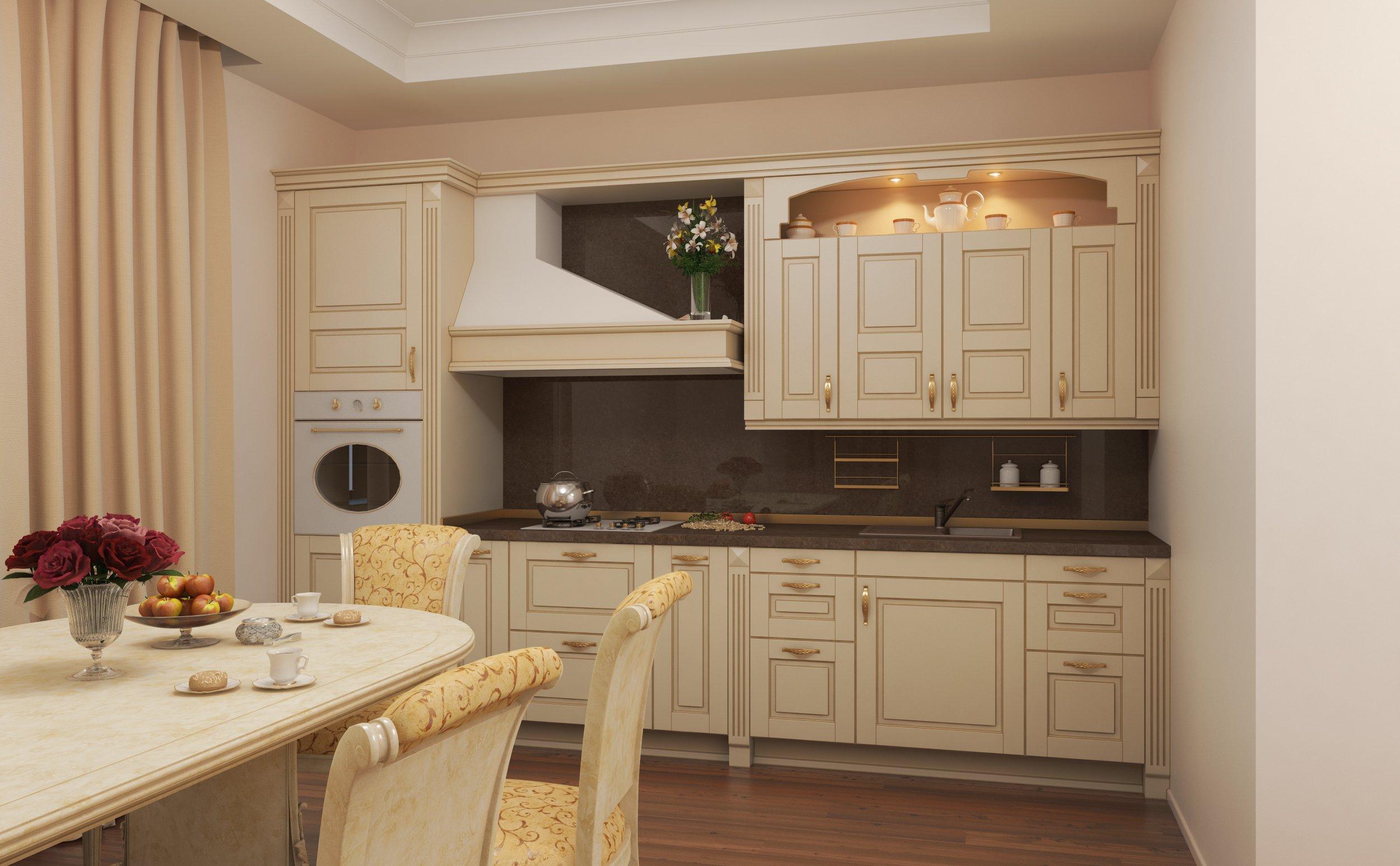 Кухонные цоколи из дерева отлично смотрятся на деревянной мебели в стиле классицизма