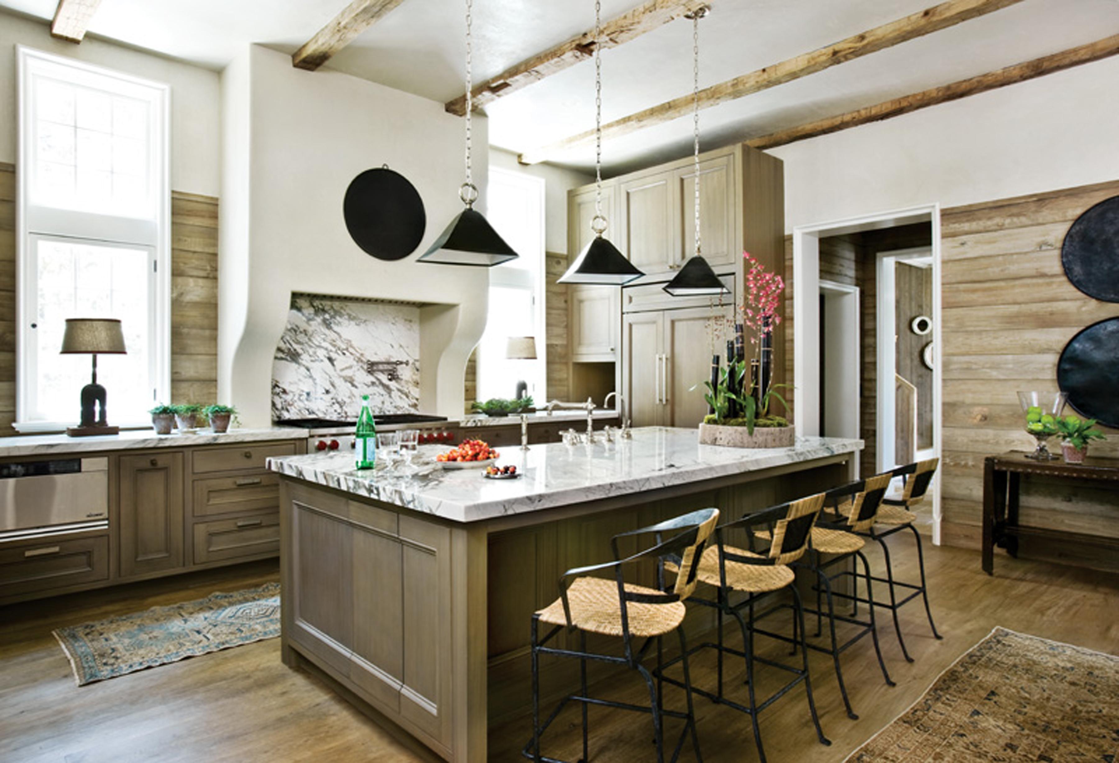 Реечные панели для кухни считается самым оптимальным вариантом для создания стиля Кантри