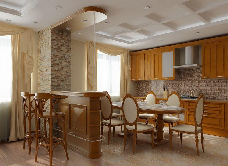 Интерьер кухни стулья