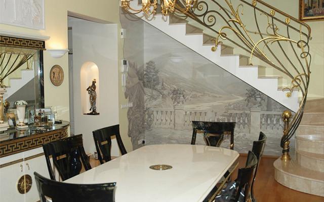 Цельная композиция на кухне завораживает своей оригинальностью