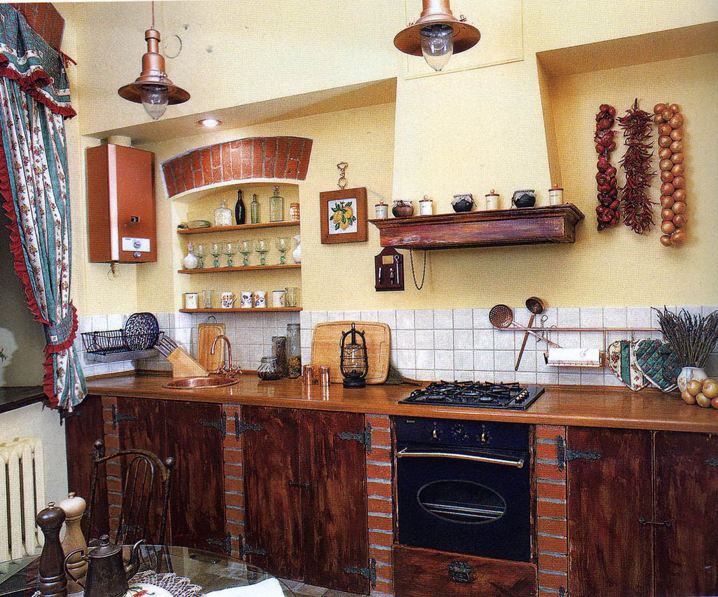 Интерьер деревенской кухни своими руками