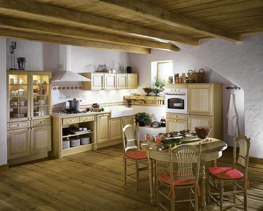 Кухни в деревенском стиле предпочтение отдают палитре из камня и дерева