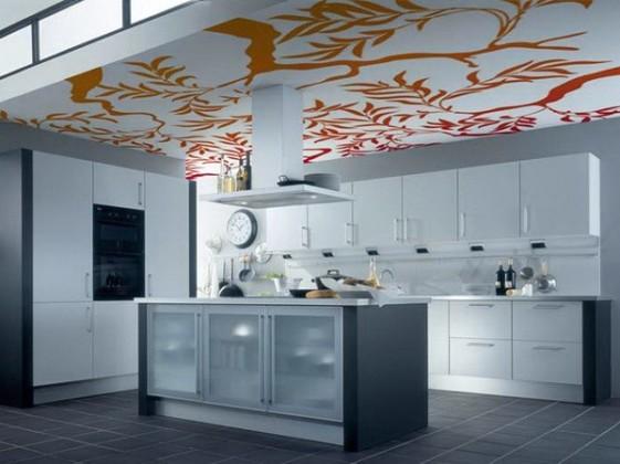 Фотопечать натяжные потолки на кухню дизайн