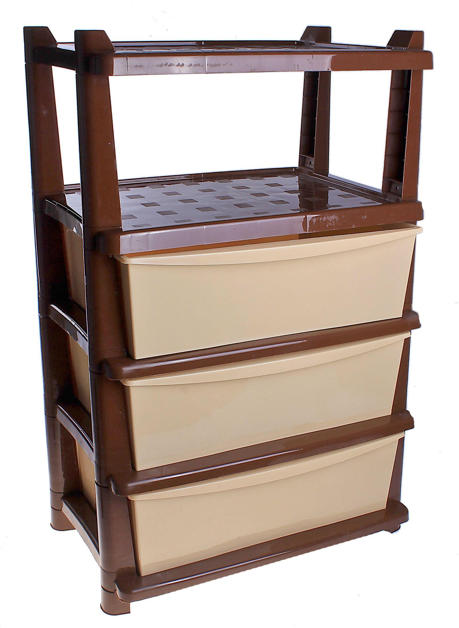 Пластиковая этажерка не совсем гармоничный но за то практичный выбор
