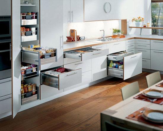 Фурнитура для кухонных шкафов помогает расширить полезную площадь комнаты