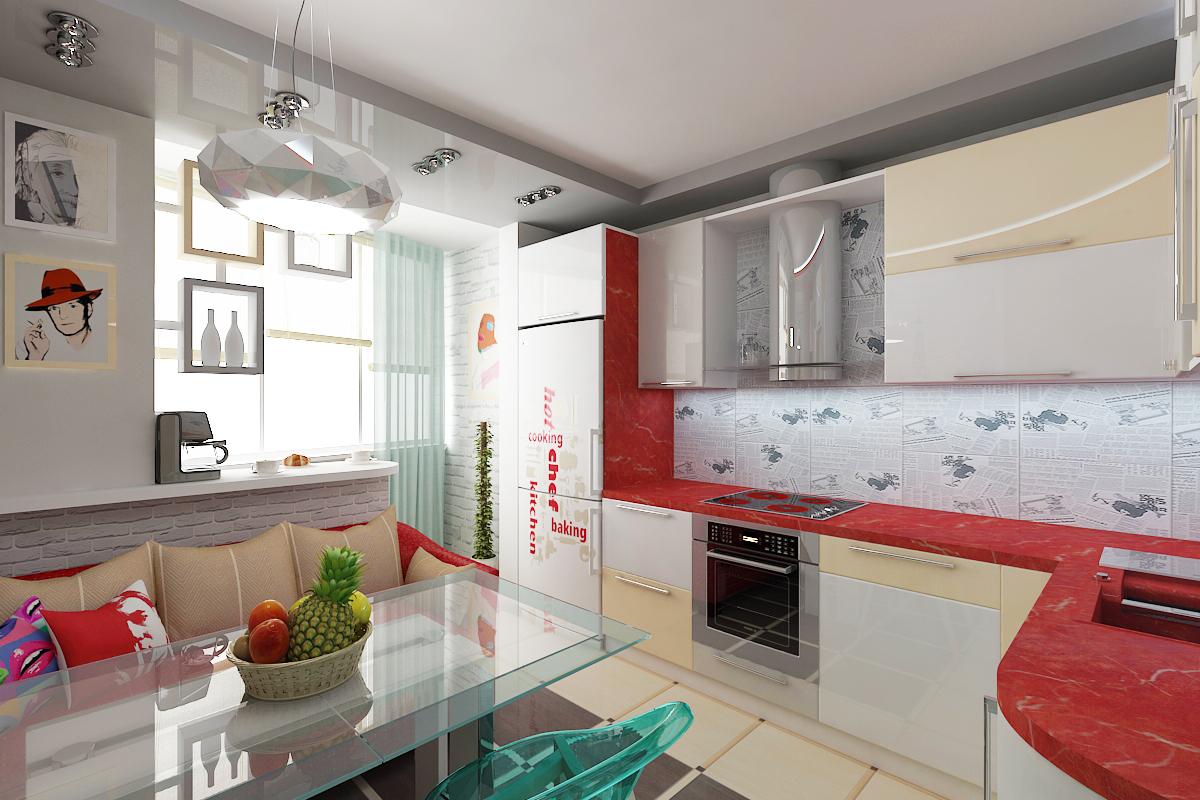 Дизайн кухни с балконом: фото интерьера кухни совмещенной с .