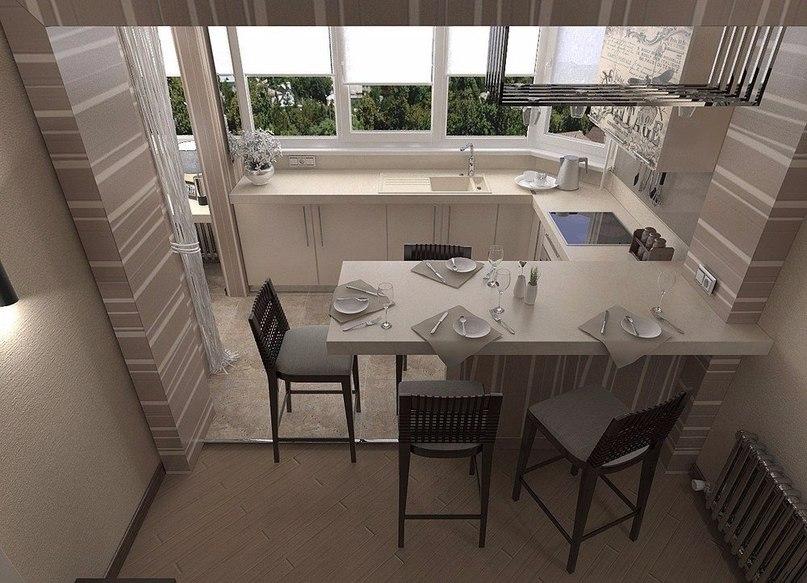 Расширение кухни на лоджию заметно увеличит пространство