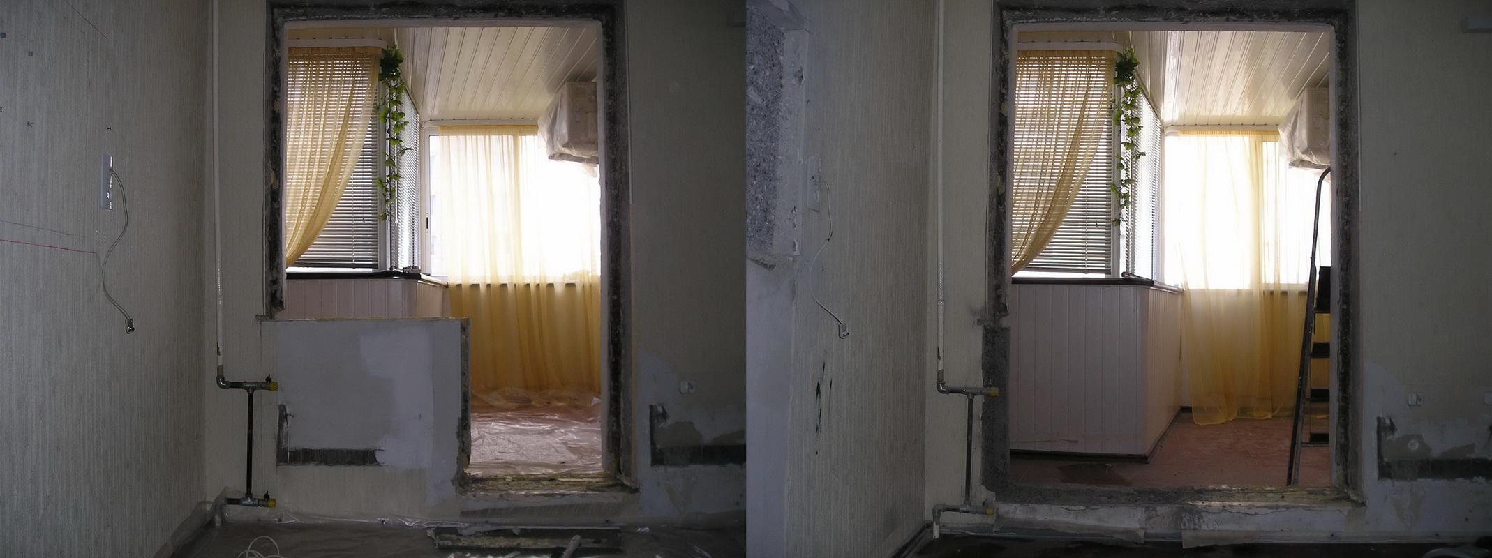 Укрепление проемов при объединении балкона.