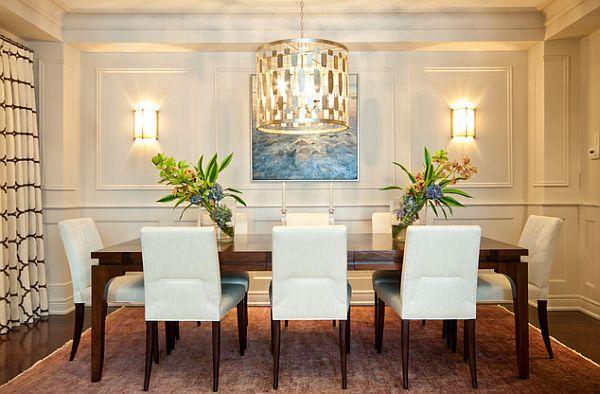 Бра, развешанные на стене, так же помогут осветить обеденную зону.