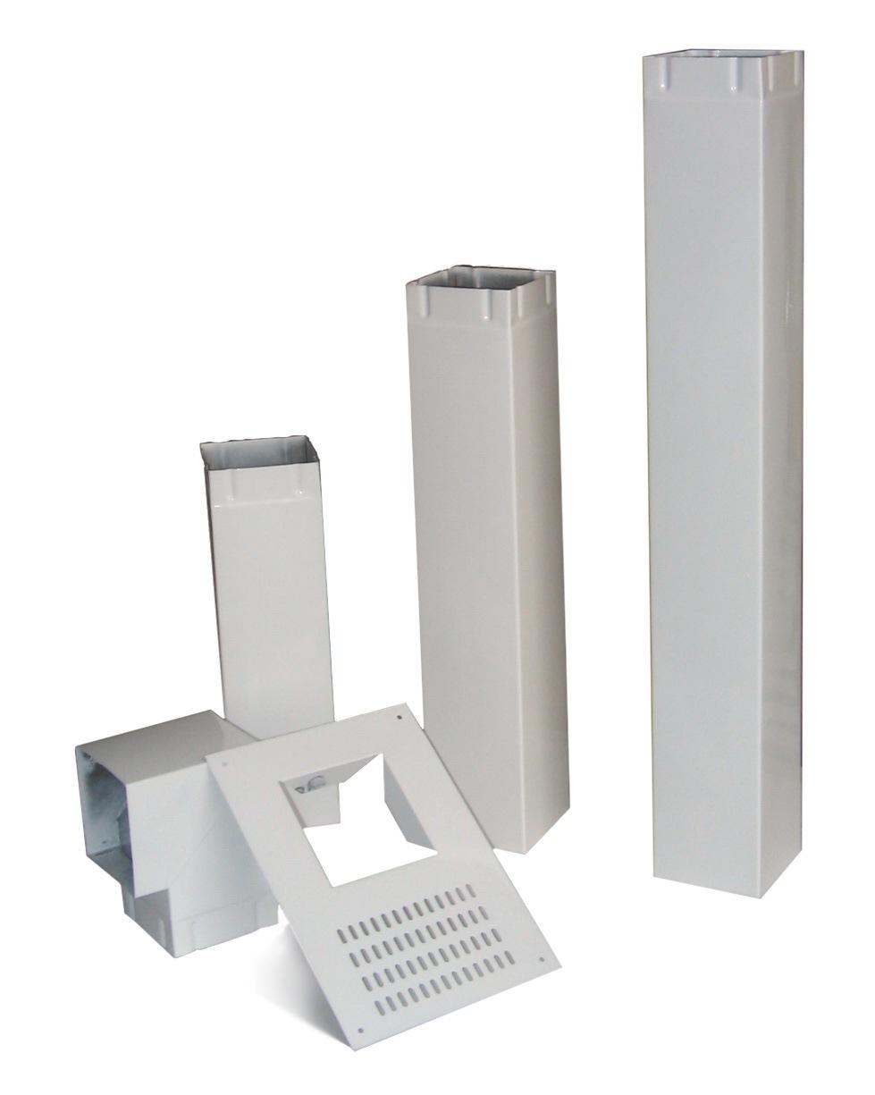 Воздуховод с металлическими трубами квадратного сечения